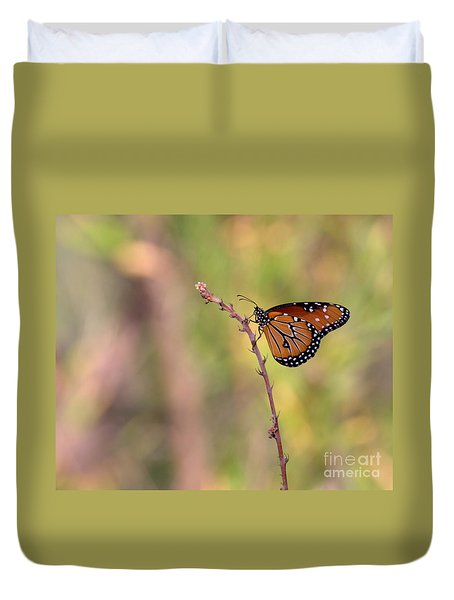 Duvet Cover featuring the photograph The Monarch Poses by Ruth Jolly