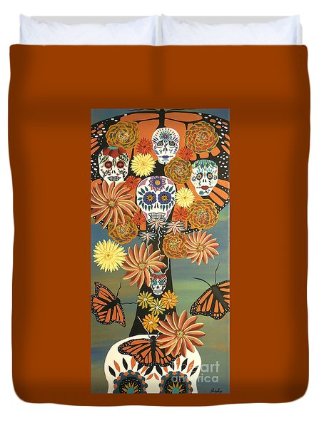 The Monarch's Tree Of Life And The Dead - Day Of The Dead Duvet Cover