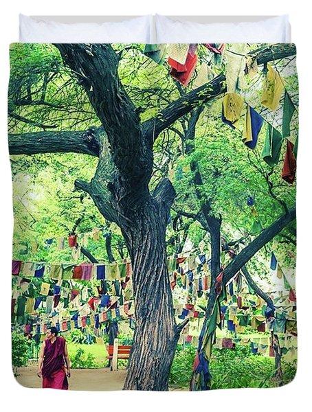 The Monk Among The Prayer Flags Duvet Cover