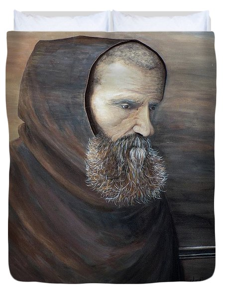 Duvet Cover featuring the painting The Monk by Judy Kirouac