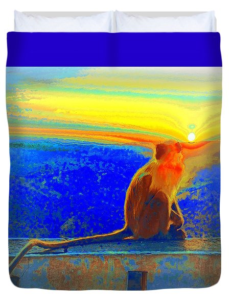 The Monkey Who Stole My Sunset Primary Colors Abstract 1a Duvet Cover