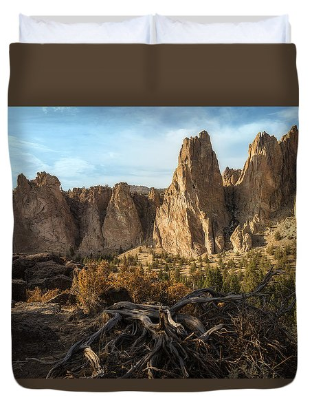 The Monument At Smith Rock Duvet Cover
