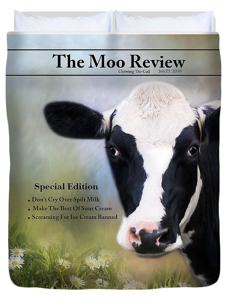 Duvet Cover featuring the photograph The Moo Review by Robin-Lee Vieira