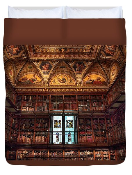 Duvet Cover featuring the photograph The Morgan Library Window by Jessica Jenney
