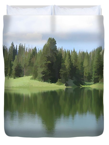 Duvet Cover featuring the digital art The Morning Calm by Gary Baird