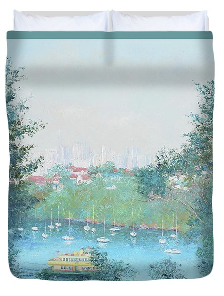 The Mosman Bay Ferry And Sydney Skyline Duvet Cover