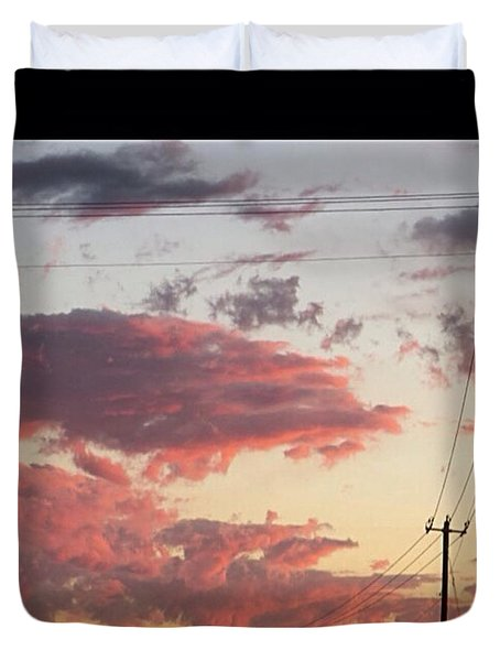 The Most #amazing #sunset Over #austin Duvet Cover