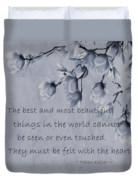 Duvet Cover featuring the mixed media The Most Beautiful Things In The World by Movie Poster Prints