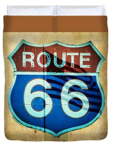 Duvet Cover featuring the photograph The Mother Road Route 66 by MaryJane Armstrong
