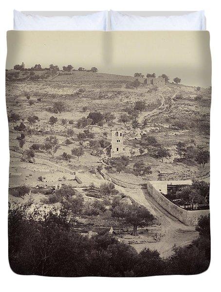 The Mount Of Olives And Garden Of Gethsemane Duvet Cover