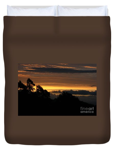 Duvet Cover featuring the photograph The Mountain At Sunrise by Cynthia Marcopulos