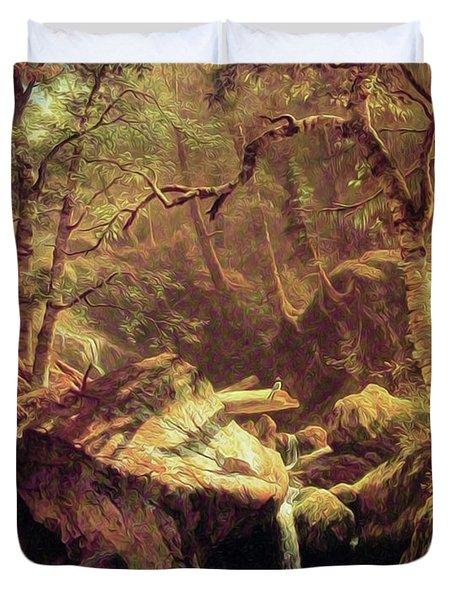 The Mountain Brook Duvet Cover by Albert Bierstadt