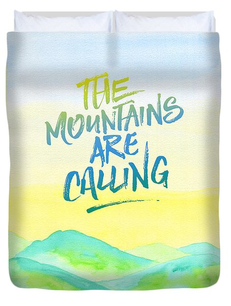 The Mountains Are Calling Yellow Blue Sky Watercolor Painting Duvet Cover