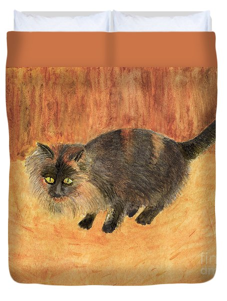 The Mouser, Barn Cat Watercolor Duvet Cover