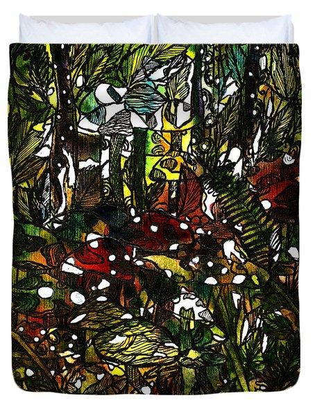 The Mushroom Village Duvet Cover by Garima Srivastava