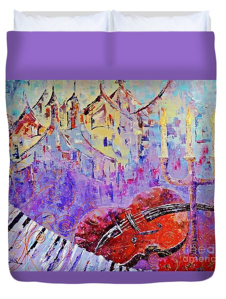 The Music Of The Silence Duvet Cover by AmaS Art