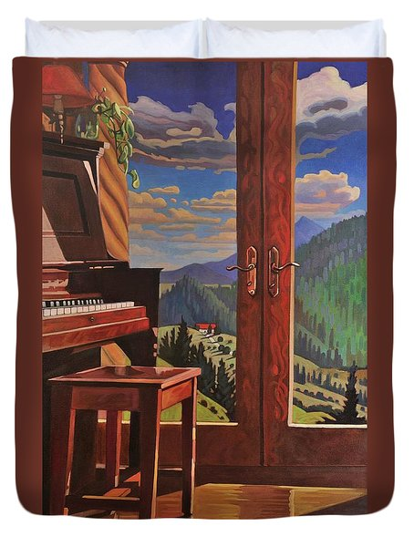 Duvet Cover featuring the painting The Music Room by Art West