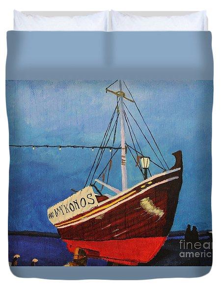 The Mykonos Boat Duvet Cover