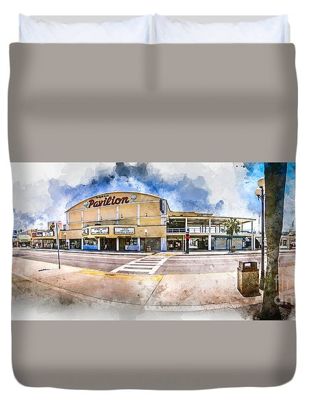 The Myrtle Beach Pavilion - Watercolor Duvet Cover