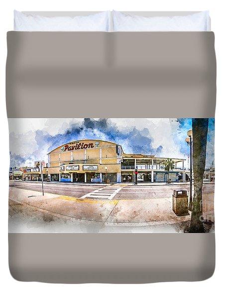 The Myrtle Beach Pavilion - Watercolor Duvet Cover