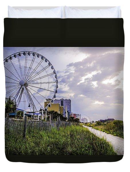 The Myrtle Beach, South Carolina Skywheel At Sunrise. Duvet Cover