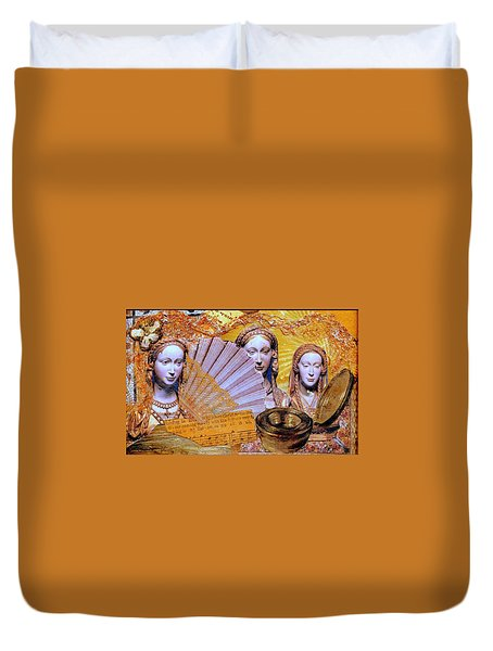 Duvet Cover featuring the mixed media The Mystery by Gail Kirtz