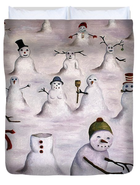 The Mystery Revealed On Snowman Hill Duvet Cover
