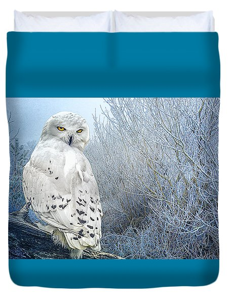 The Mystical Snowy Owl Duvet Cover by Brian Tarr