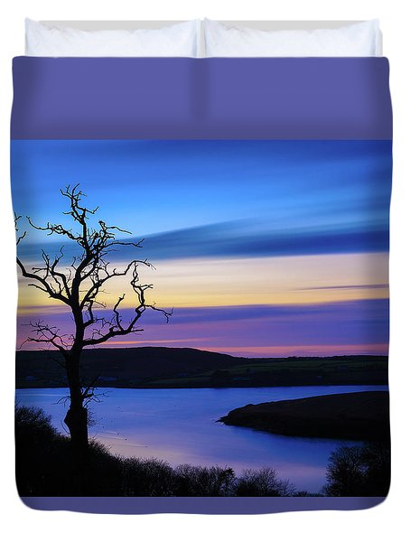 Duvet Cover featuring the photograph The Naked Tree At Sunrise by Semmick Photo