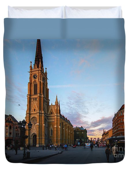 The Name Of Mary Church At Dusk Novi Sad Duvet Cover