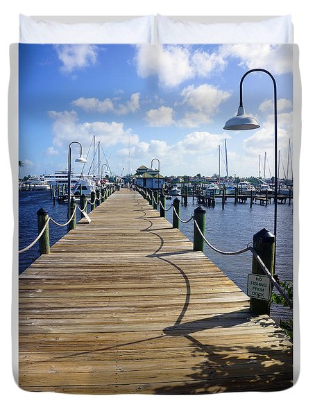The Naples City Dock Duvet Cover