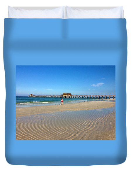 The Naples Pier At Low Tide Duvet Cover