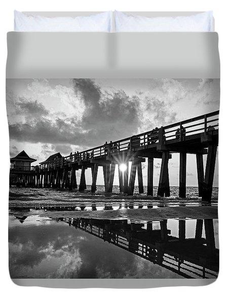 Naples Pier At Sunset Naples Florida Black And White Duvet Cover