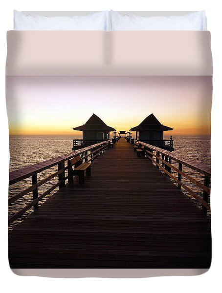 The Naples Pier At Twilight - 01 Duvet Cover