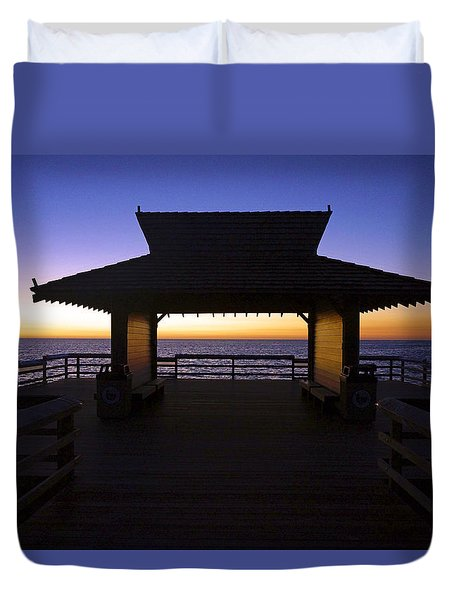 The Naples Pier At Twilight - 02 Duvet Cover