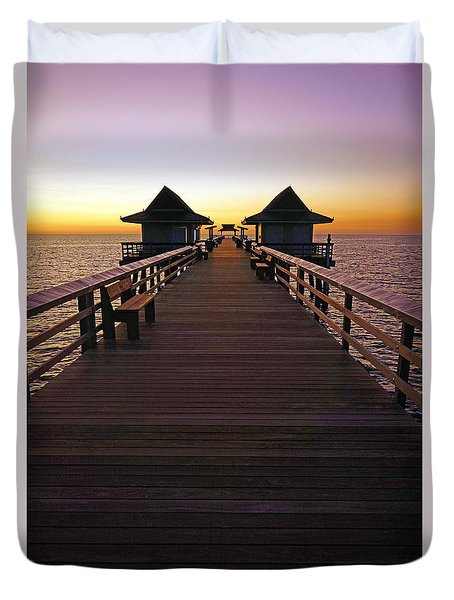 Duvet Cover featuring the photograph The Naples Pier At Twilight by Robb Stan