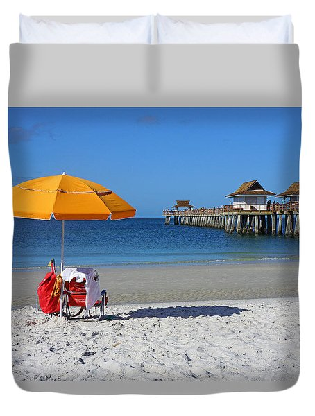 The Naples Pier Duvet Cover