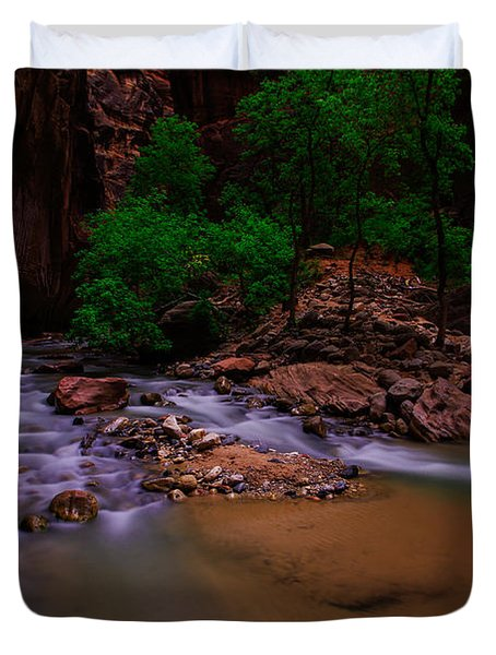 The Narrows Waterfall Zion National Park Duvet Cover