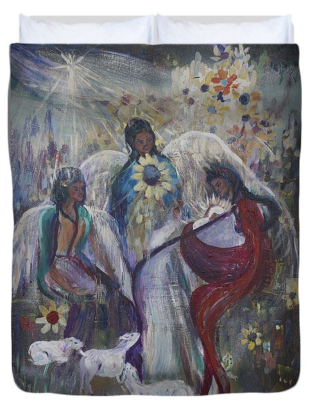 The Nativity Of The Angels Duvet Cover by Avonelle Kelsey