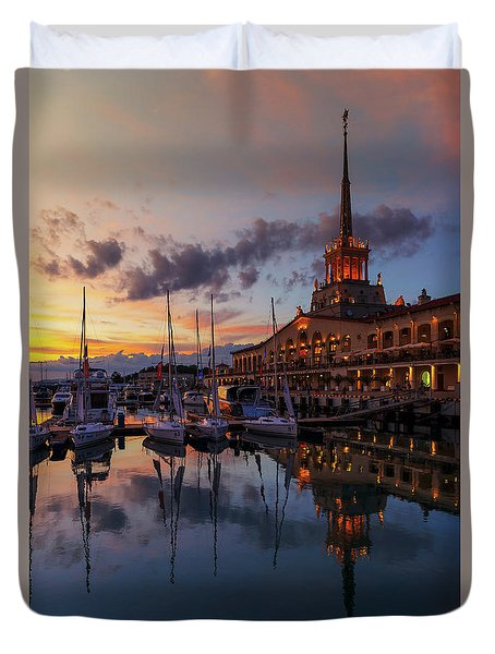 the nautical station and the yacht on the main sea channel of the Sochi seaport Duvet Cover
