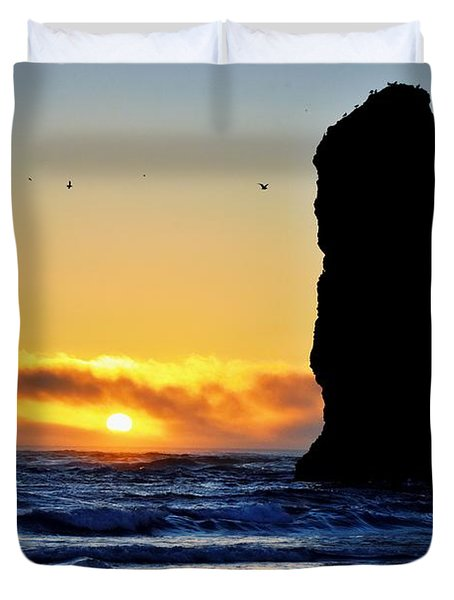 The Needles At Cannon Beach Duvet Cover by Scott Cameron