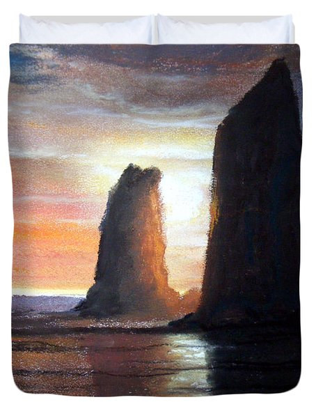 Duvet Cover featuring the painting The Needles by Chriss Pagani