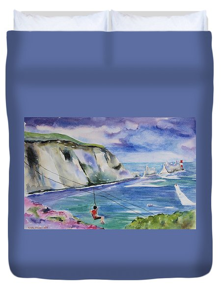 The Needles Isle Of Wight In England  Duvet Cover by Geeta Biswas