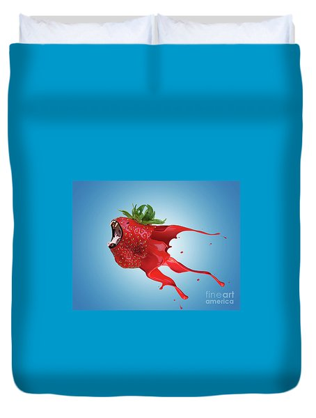Duvet Cover featuring the photograph The New Gmo Strawberry by Juli Scalzi