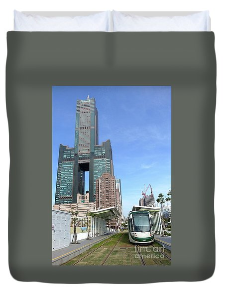 Duvet Cover featuring the photograph The New Kaohsiung Light Rail Train by Yali Shi