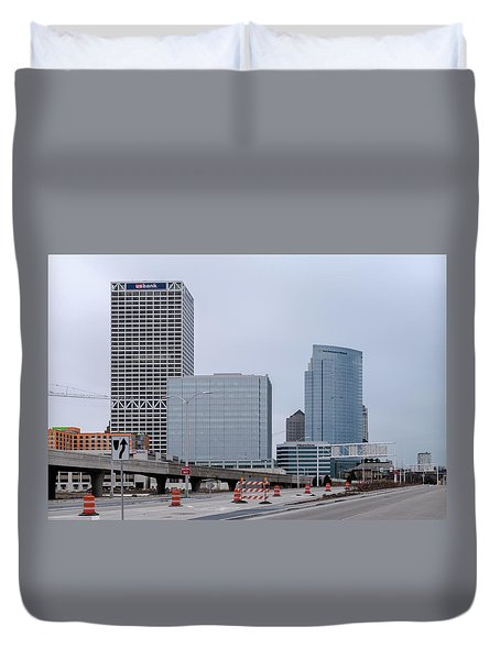 Duvet Cover featuring the photograph The New Milwaukee Skyline by Randy Scherkenbach