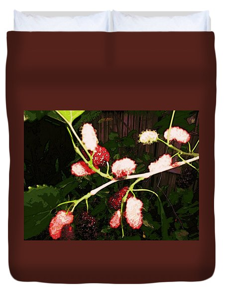 Duvet Cover featuring the digital art The New Mulberries by Winsome Gunning