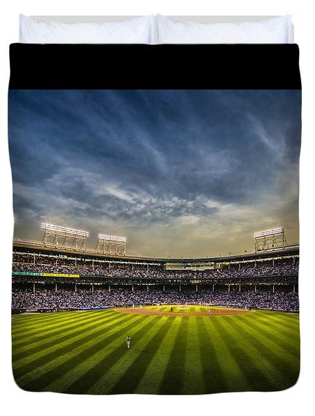 The New Wrigley Field With Pretty Sunset Sky Duvet Cover