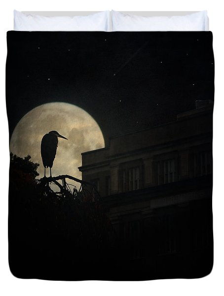 Duvet Cover featuring the photograph The Night Of The Heron by Chris Lord