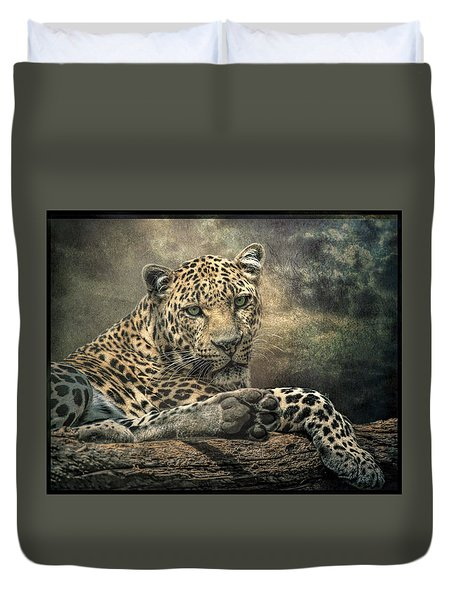 Duvet Cover featuring the photograph The Night Of The Leopard by Brian Tarr